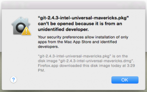 Unidentified developer warning. Sometimes thrown when trying to install Git.