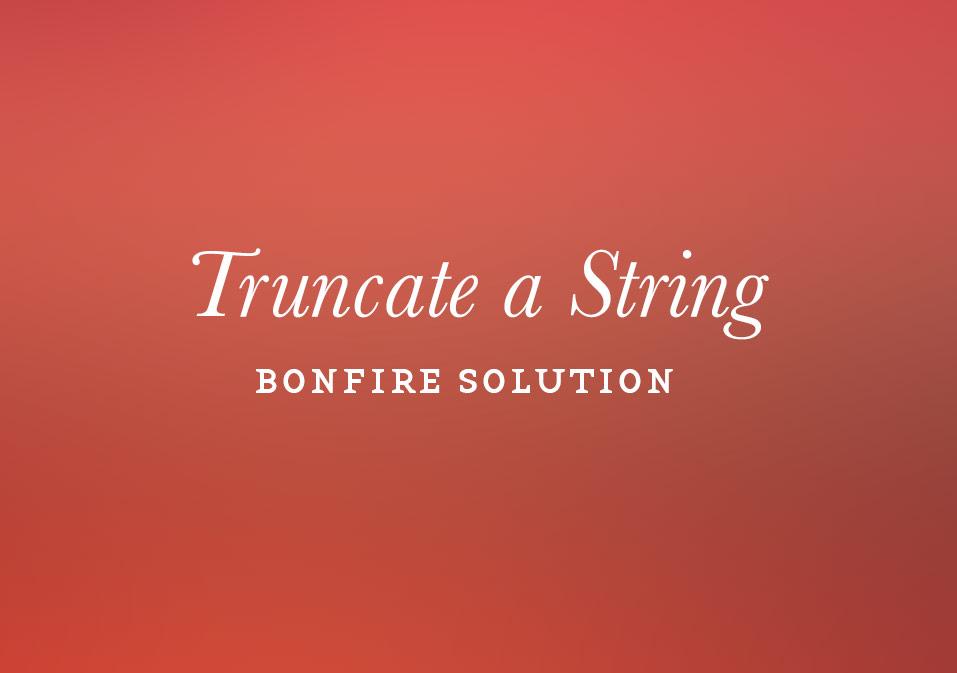 Truncate a String
