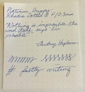 Platinum Preppy, 0.3 Fine on Rhodia Dotted.